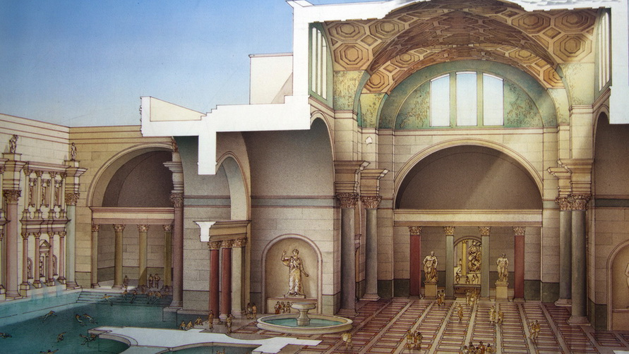 Иллюстрация из учебника. Римляне с удовольсвием посещали это место.
